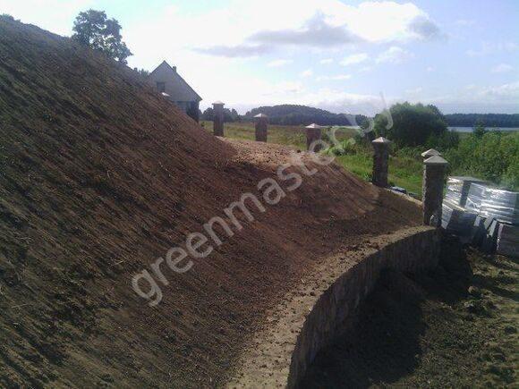 Устройство газона, устройство подпорных стенок